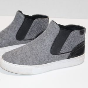 Tory Burch Slides Wool Leather Hi Top Sneakers 7